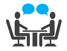 two people sitting at  a table with speech bubbles