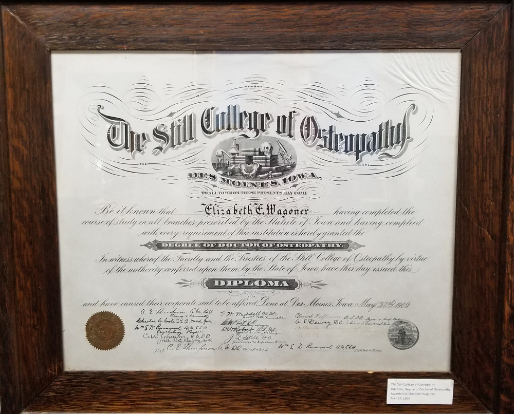 Elizabeth Wagoner's diploma from the Still College of Osteopathy from 1909.