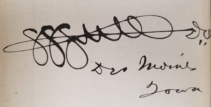 "Signature reading ""S.S. Still D.O. Des Moines, IA"""