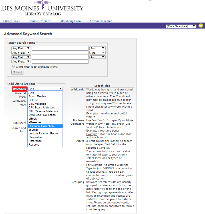 "DMU Library Catalog Advanced Search page with ""location- Historical Collection"" highlighted."