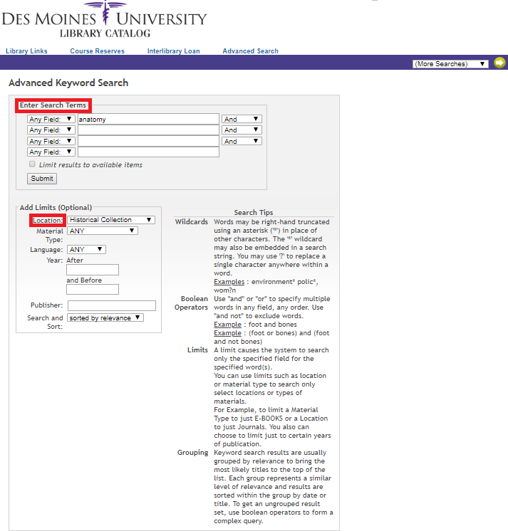 "DMU Library Catalog Advanced Search page with ""enter search terms"" highlighted."