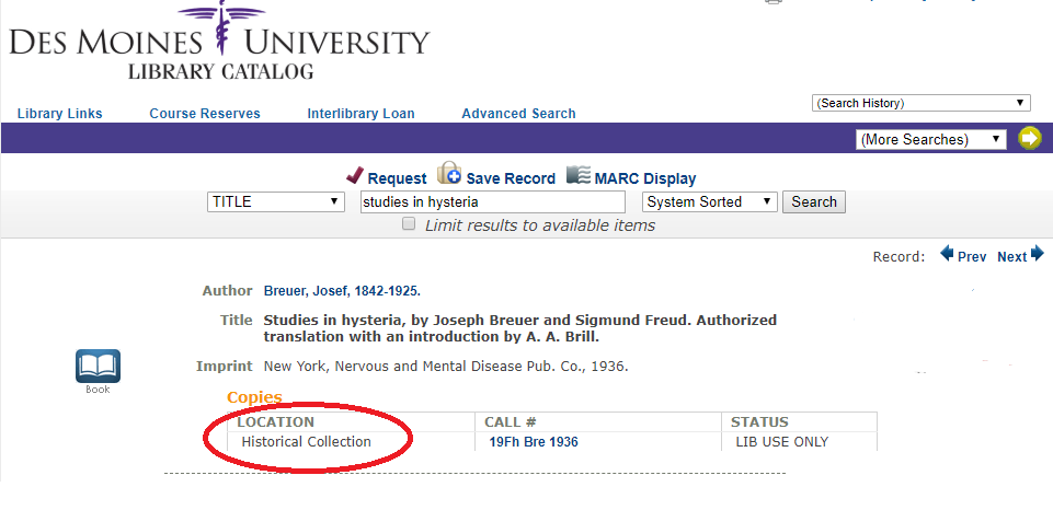 "DMU library catalog entry for ""Studies in Hysteria"" with the ""Historical Collection"" location circled."