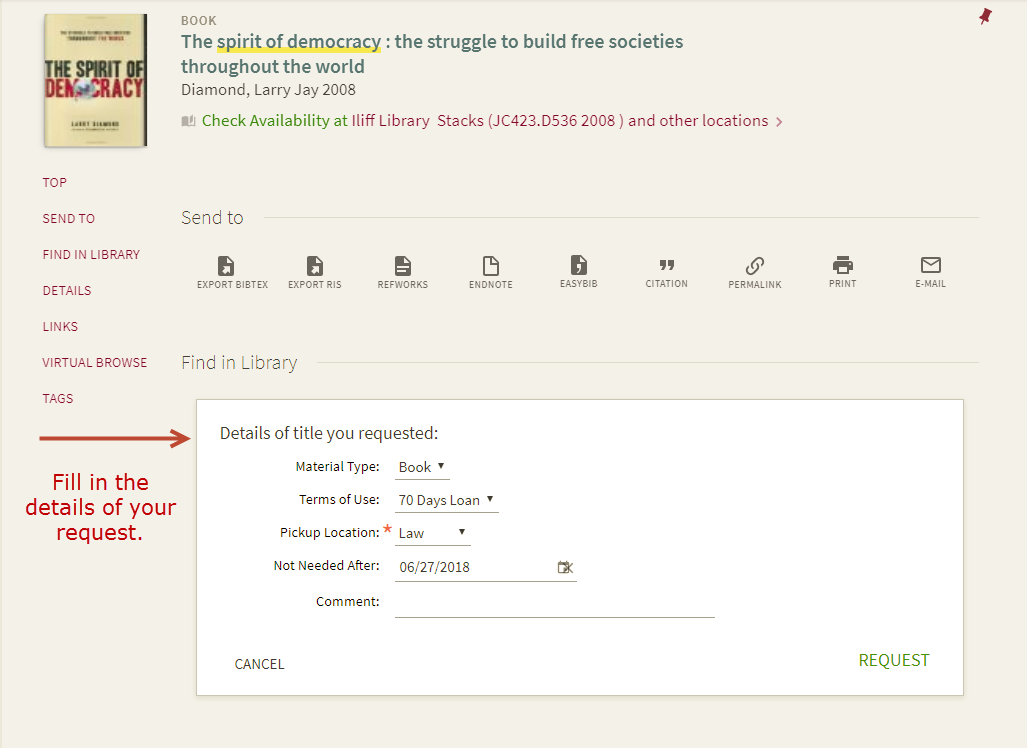 Screenshot submitting a request from another DU library