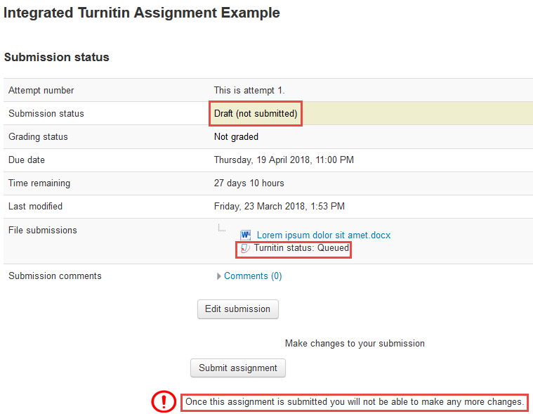 Screenshot of Turnitin report status queued