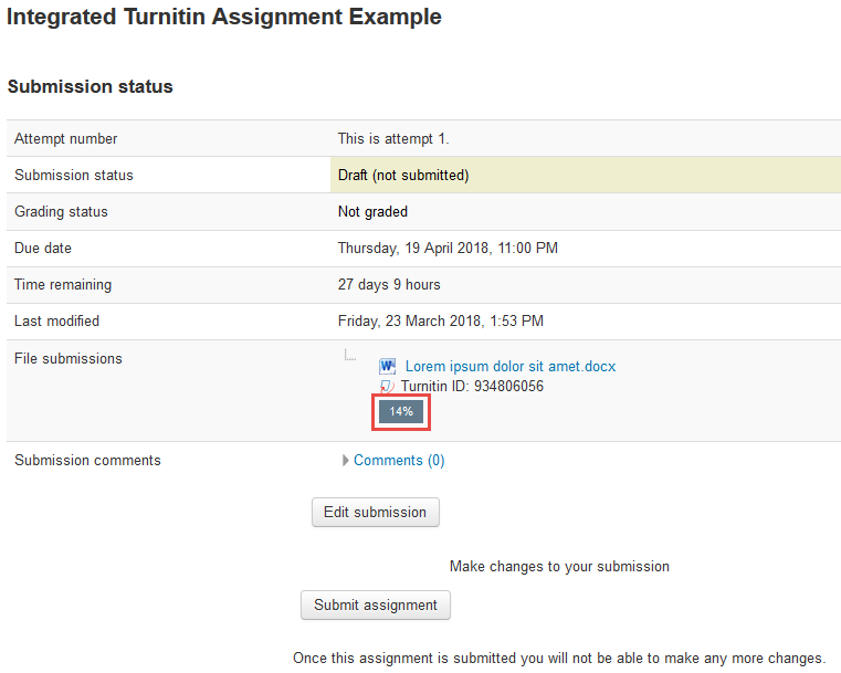 Screenshot of reviewing Turnitin report by clicking the percentage icon