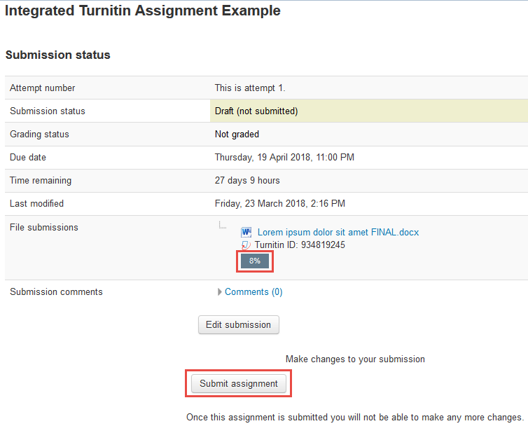 Screenshot of submit assignment button