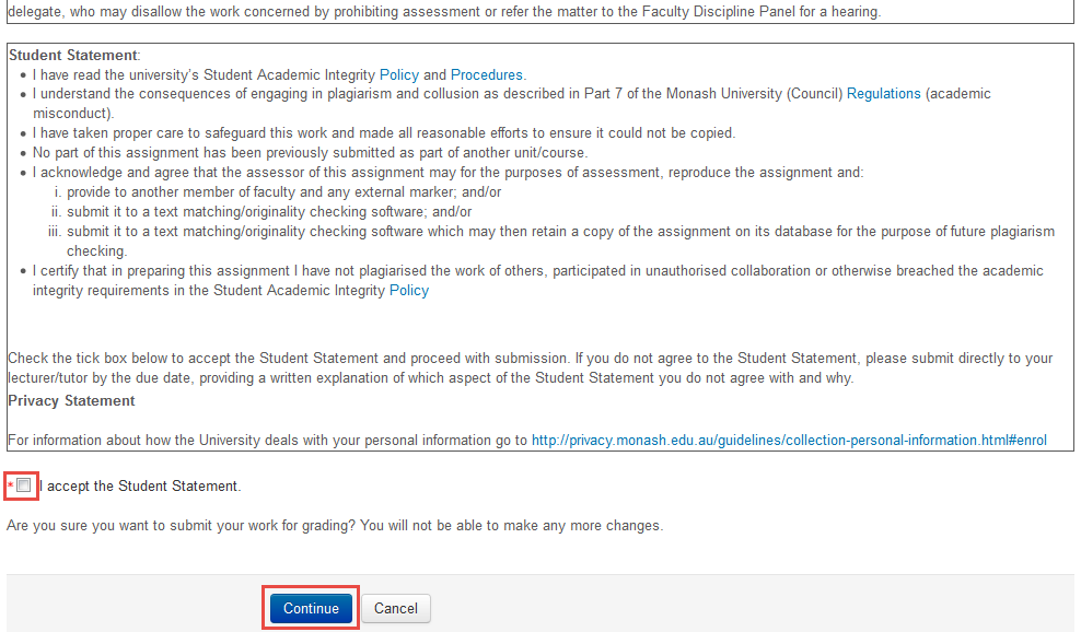 Screenshot of accept student statement clickbox