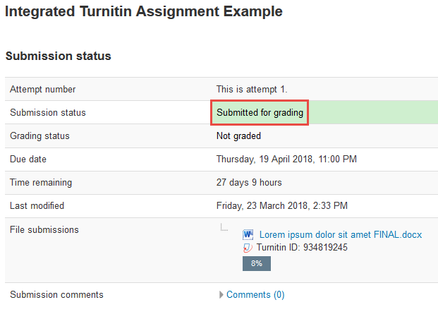 Screenshot of final submission