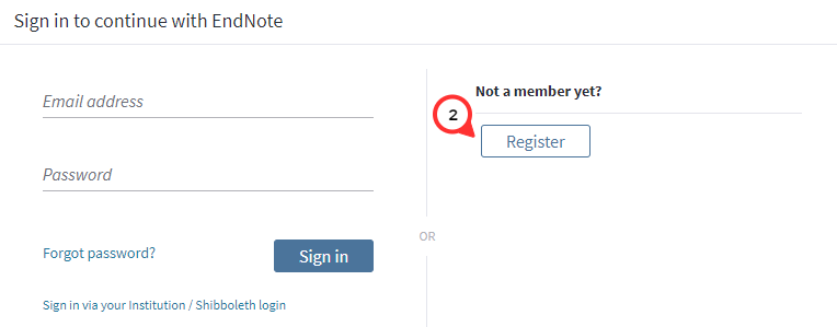 Click on Register beneath Not a Member Yet?