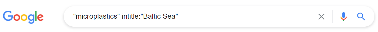 Google search with microplastic in quotes and the phrase Baltic Sea after the intitle: command