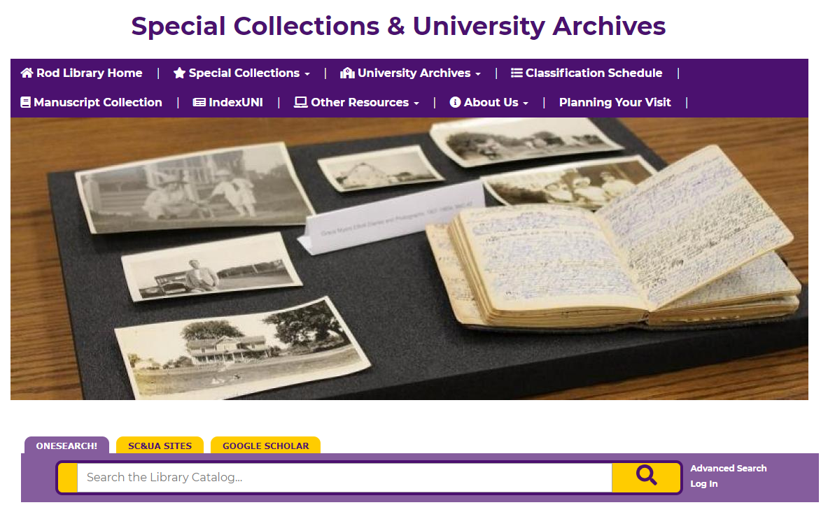 Special Collections and University Archives website