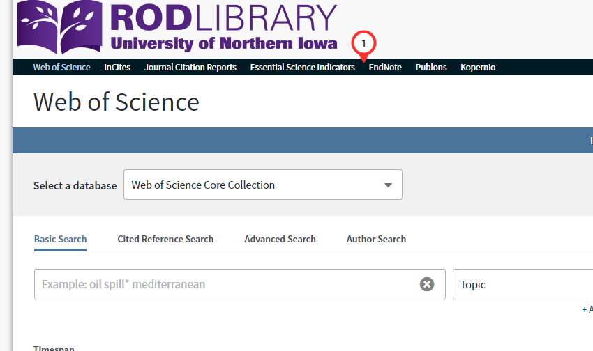 "Navigate to the Web of Science database. Then, in the black bar beneath the Rod Library logo, select the text ""EndNote."""