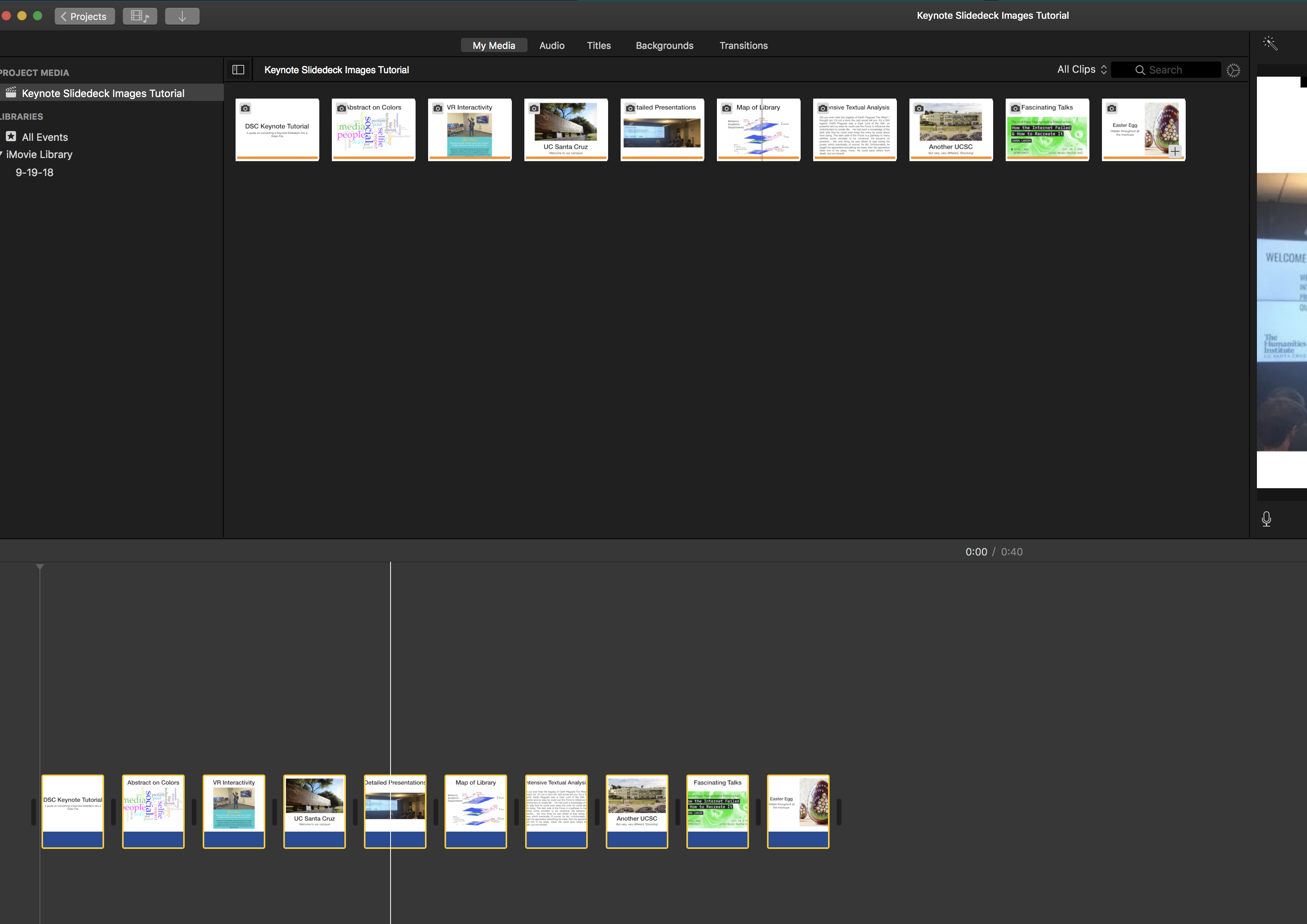 iMovie adding images to timeline