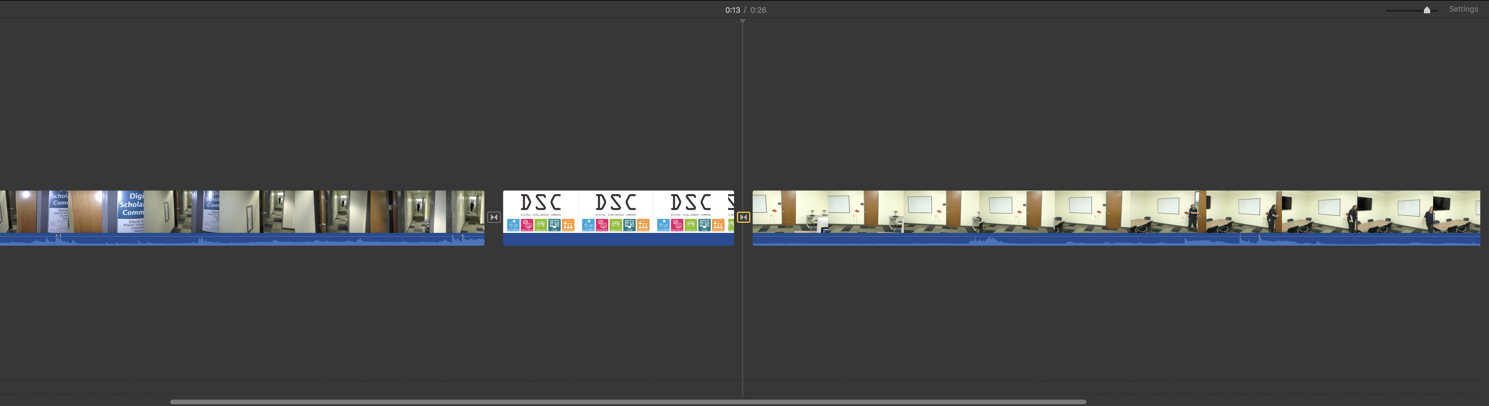 iMovie timeline with added transitions