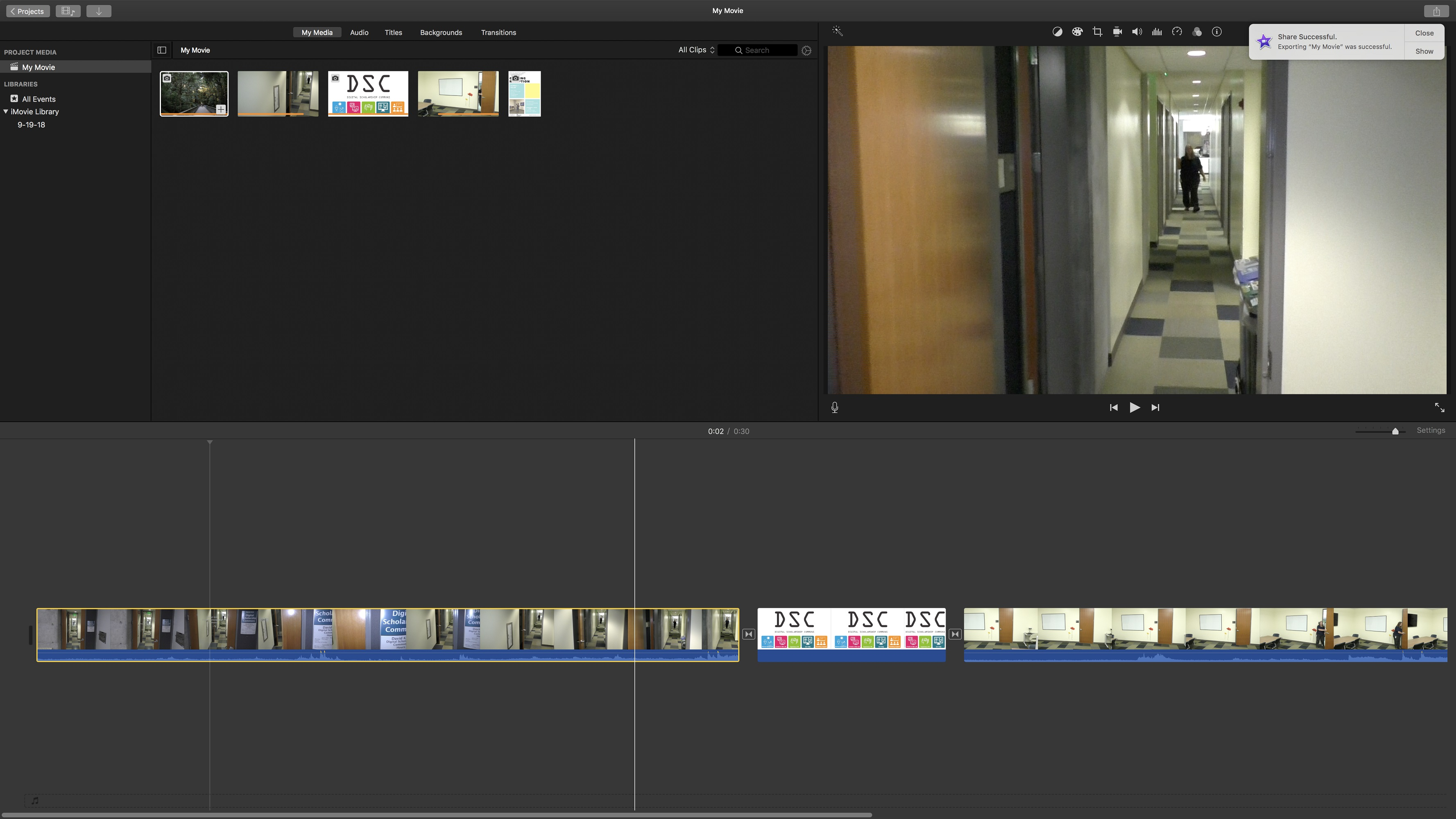 iMovie project overview