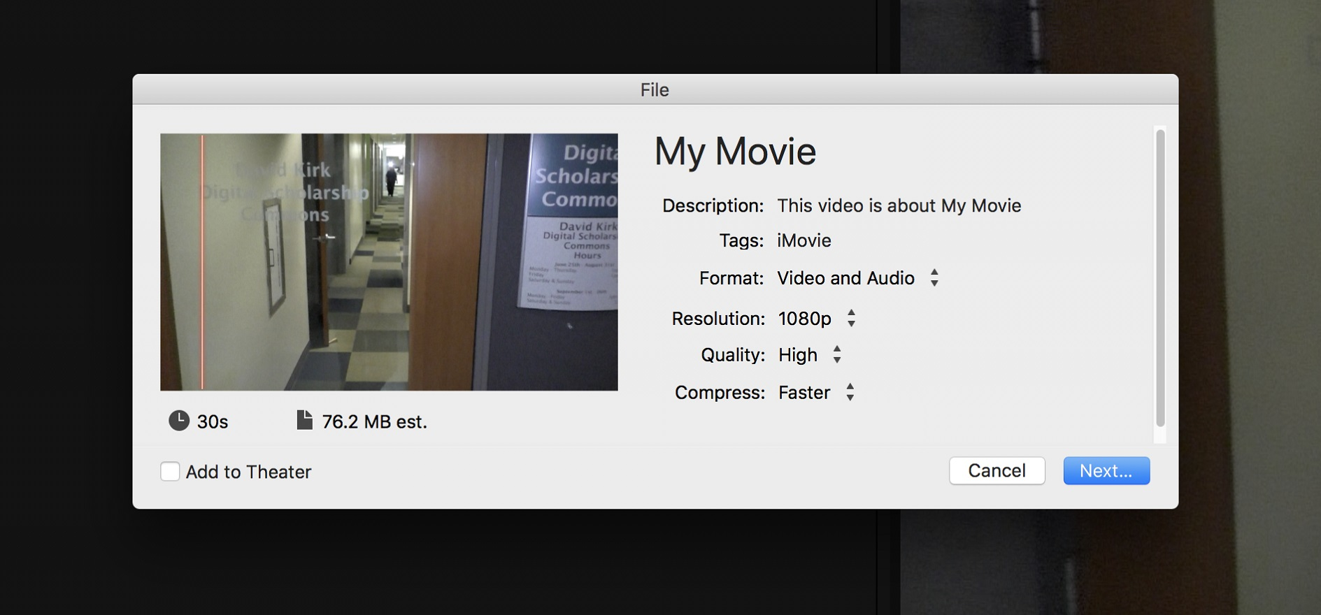 iMovie prompt window before sharing as a file type