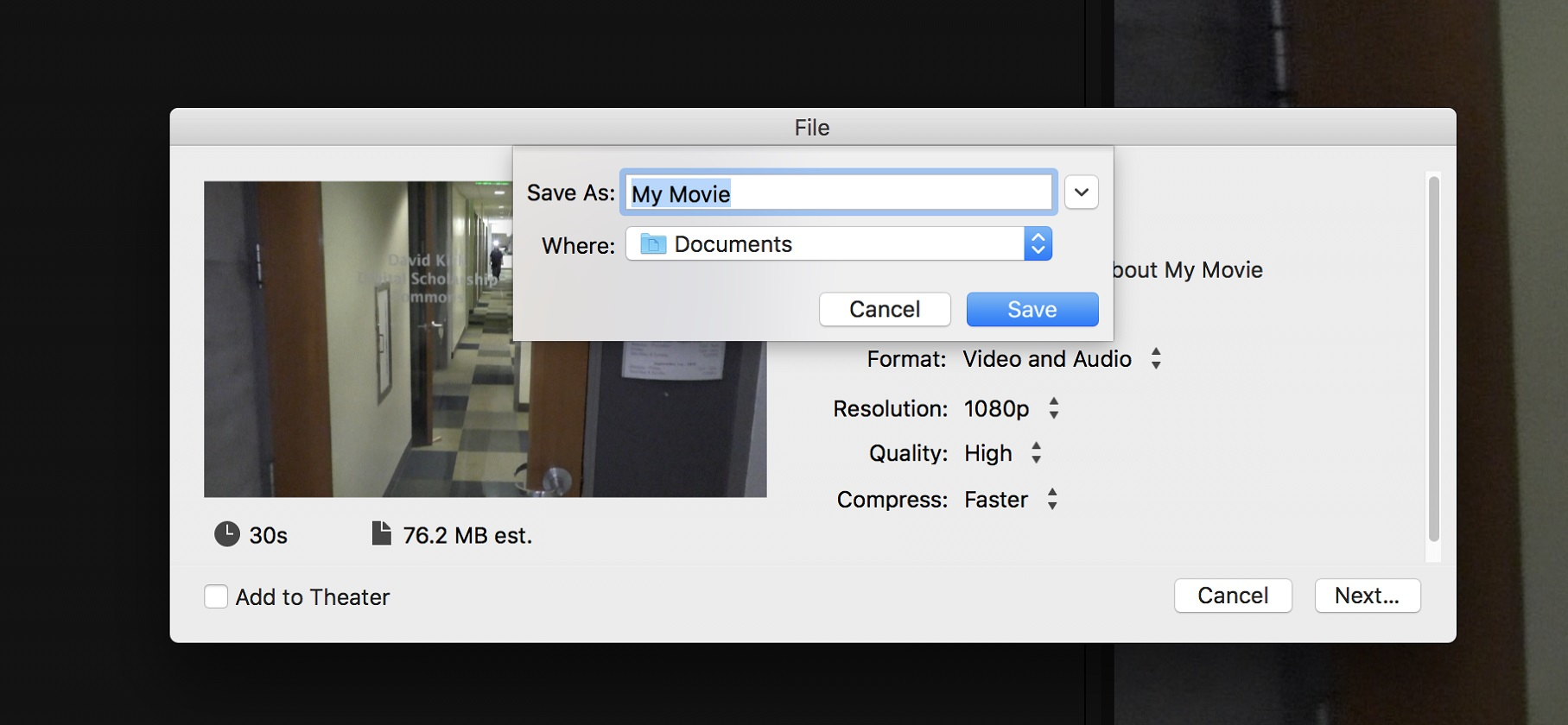iMovie saving the .mp4 file