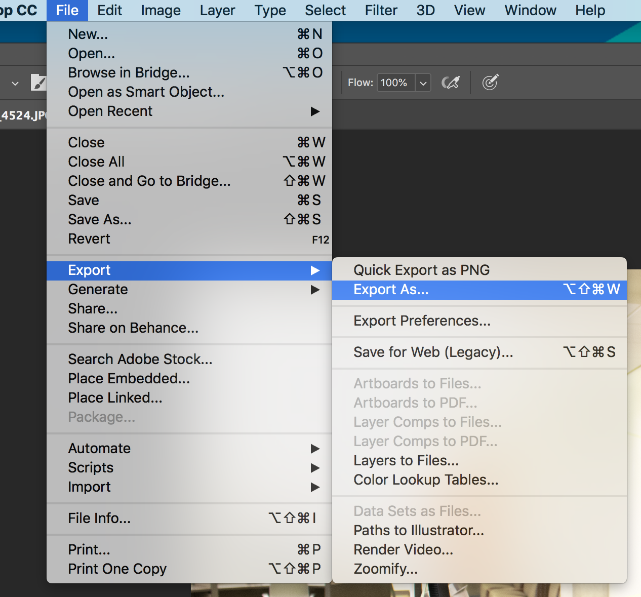 "Selectiong ""Export As..."" from Menu Bar"