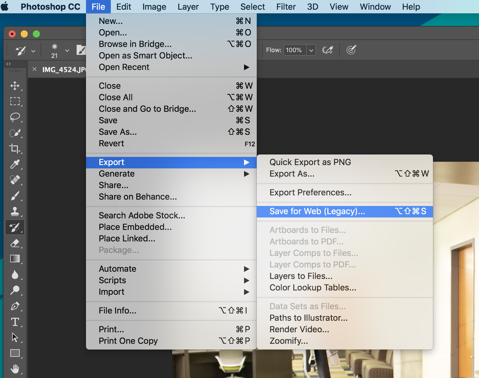 Selecting Save for Web from Menu Bar