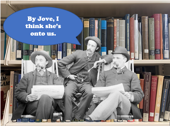 3 old-fashioned white men superimposed over two of our book shelves