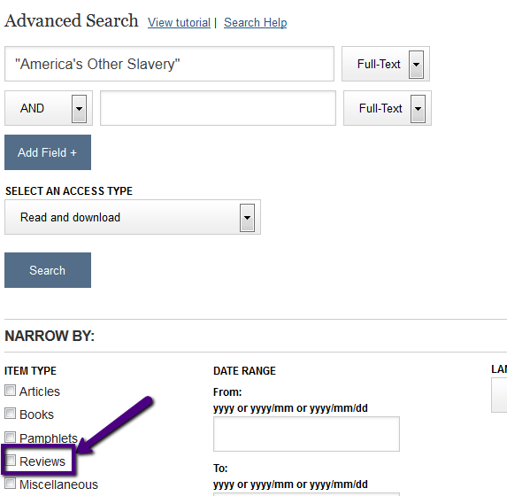 Screenshot of selecting for reviews in JSTOR