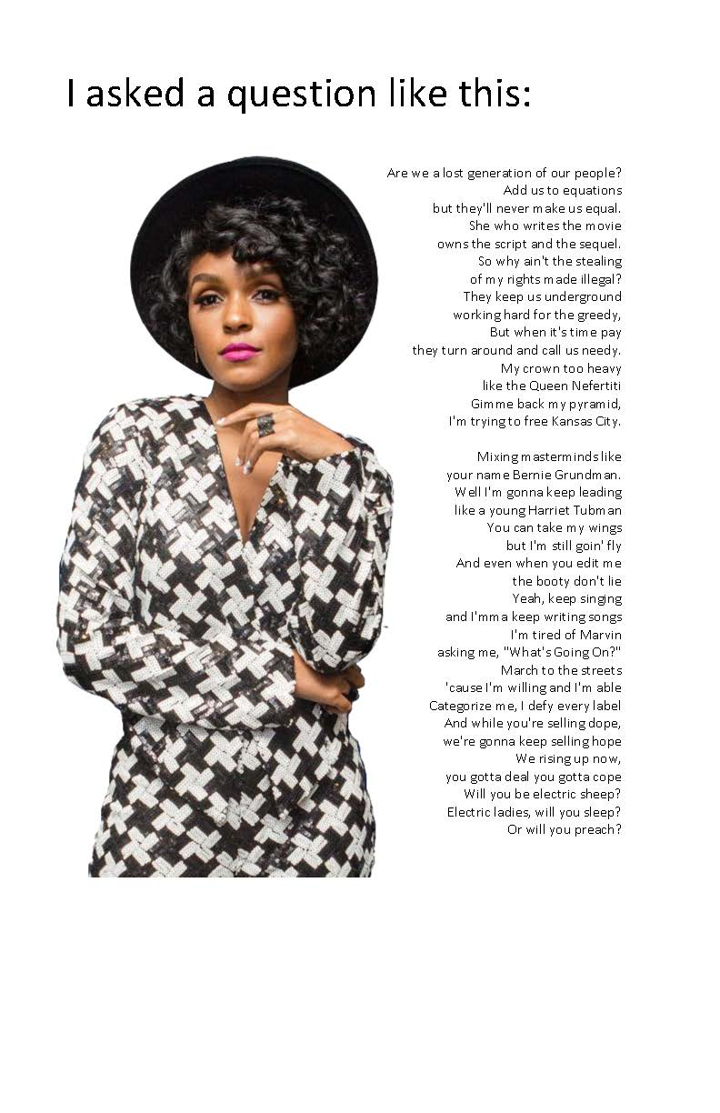 Quote from Janelle Monae's QUEEN poster image