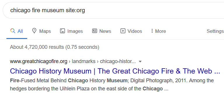 screencap of a search using museum and site:org