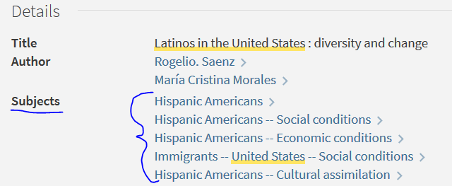 screen shot of hispanic american subject terms