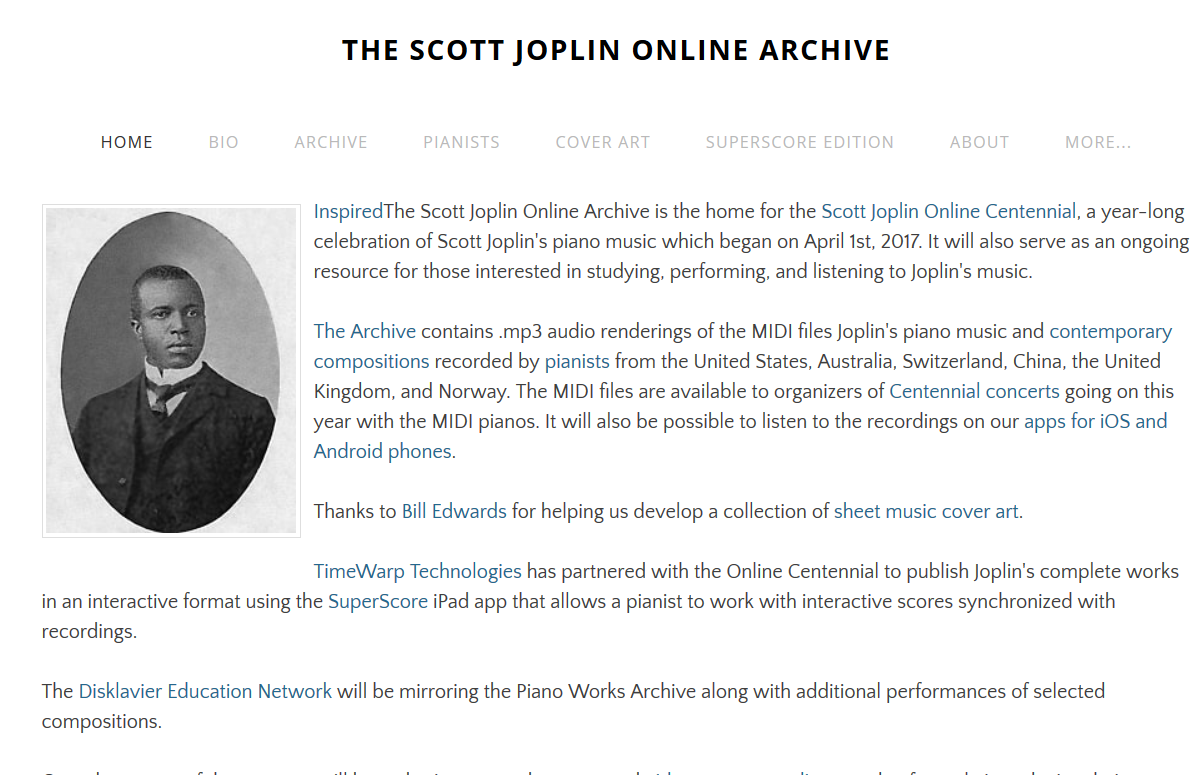 screencap of Scott Joplin Archive homepage