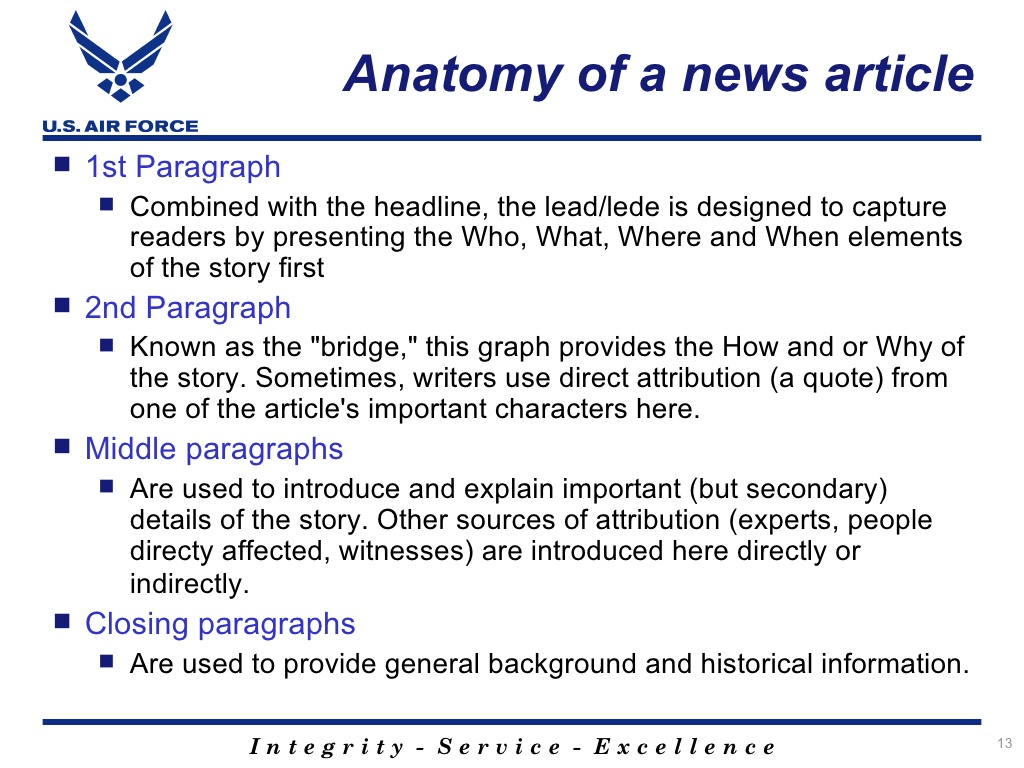 Slide from a presentation on the anatomy of a news article