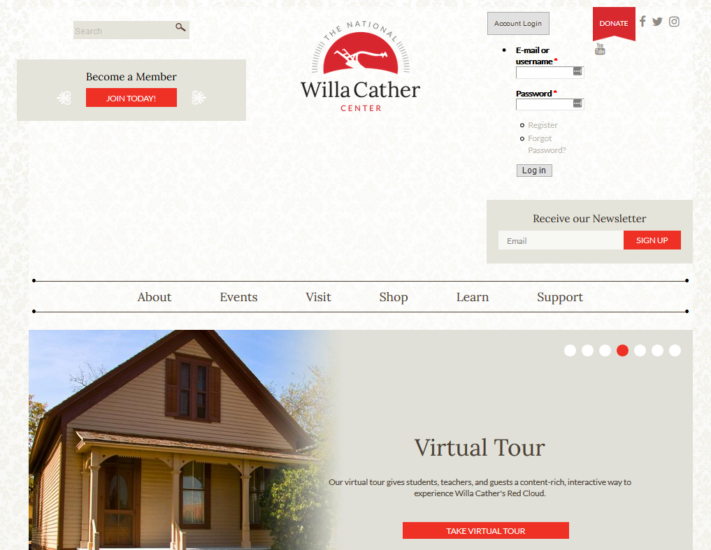 Screencap of a willa cather center website