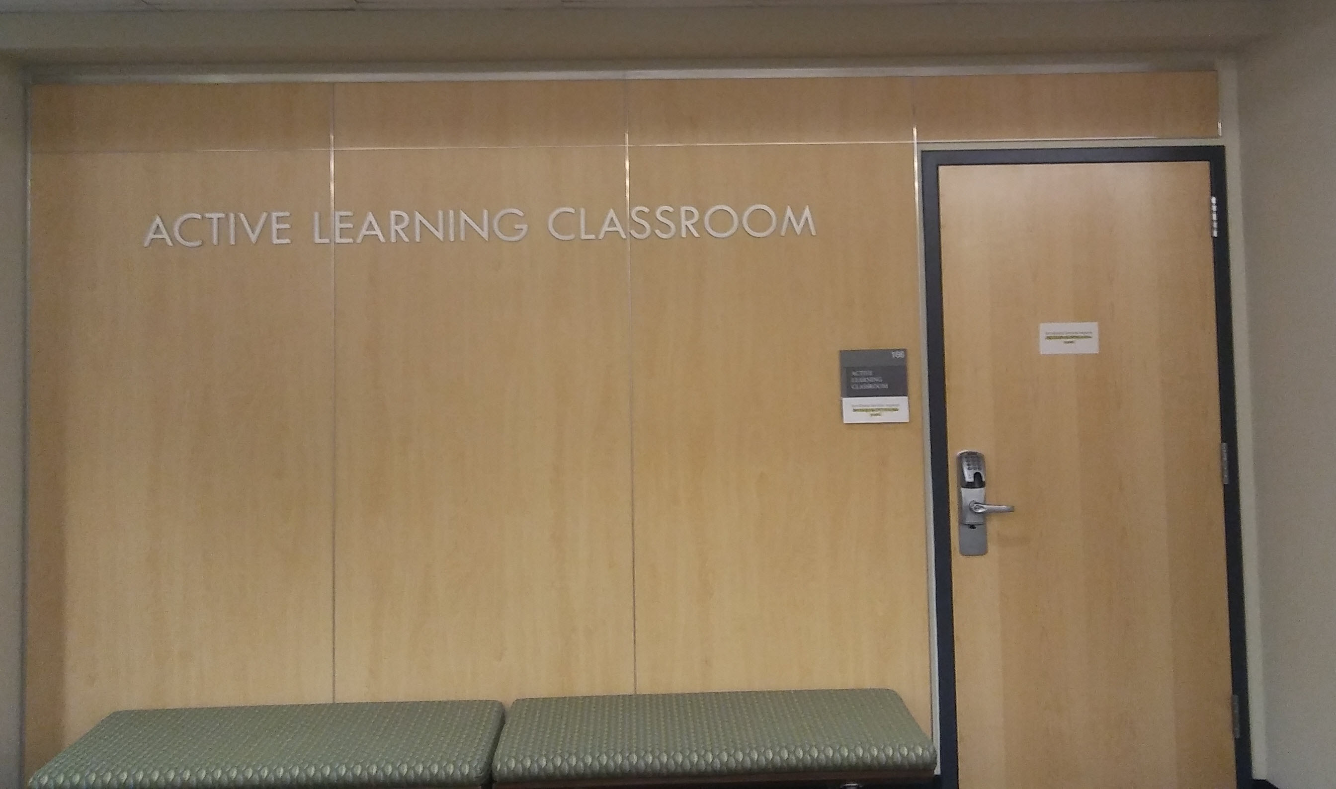 photo of the entrance to the Active Learning Classroom, Room 166