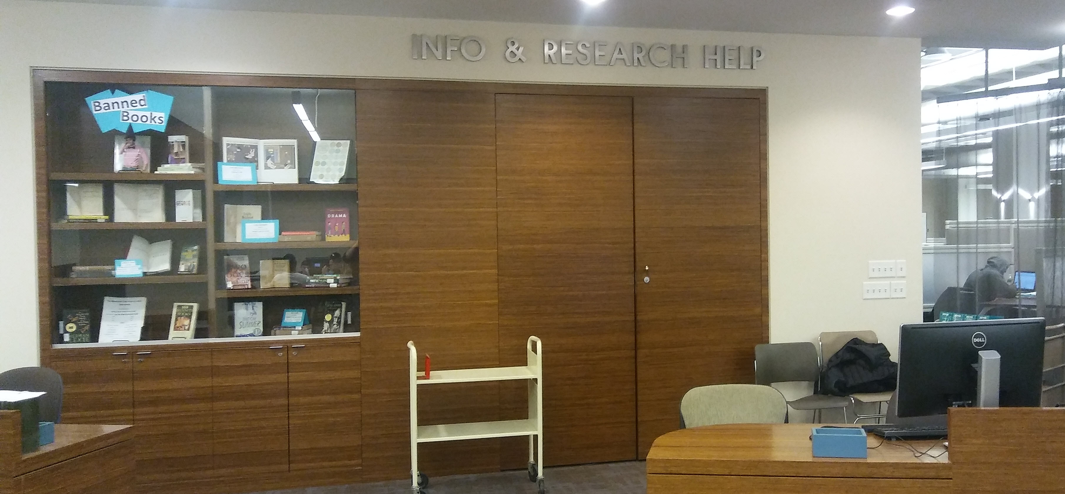 photo of the Info & Research Help Desk and display