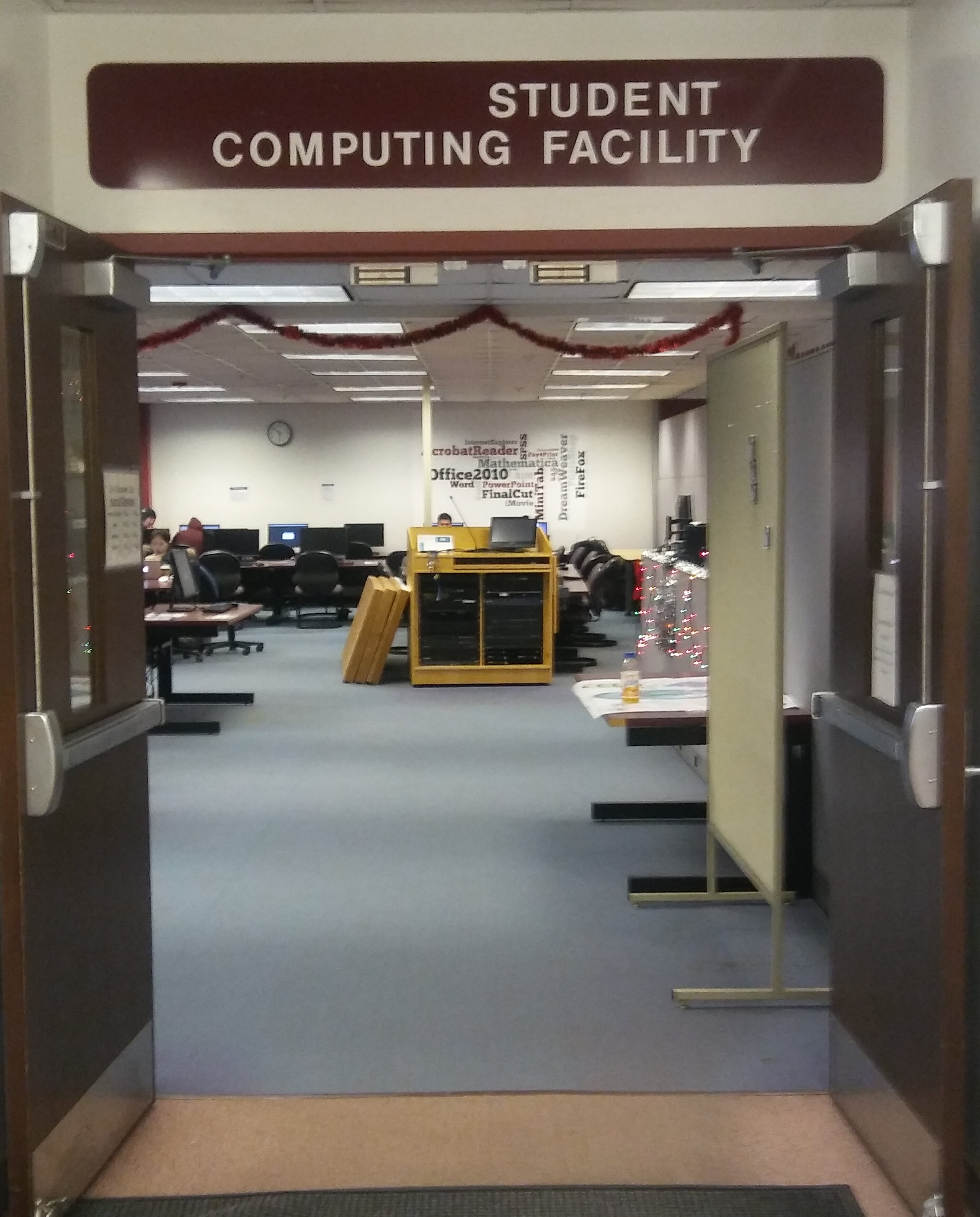 photo of the Student Computing Facility looking in on some of the equipment