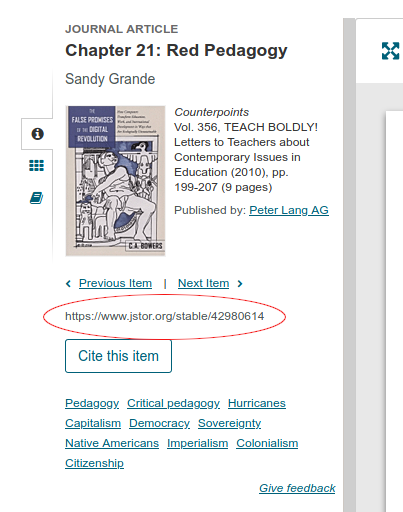 image of jstor page with permalink circled