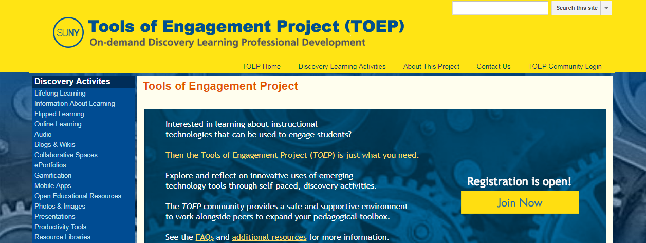 Tools of Engagement Project homepage