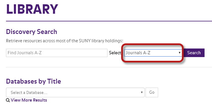 screenshot of library discovery search highlighting journals A-Z search scope in drop down menu