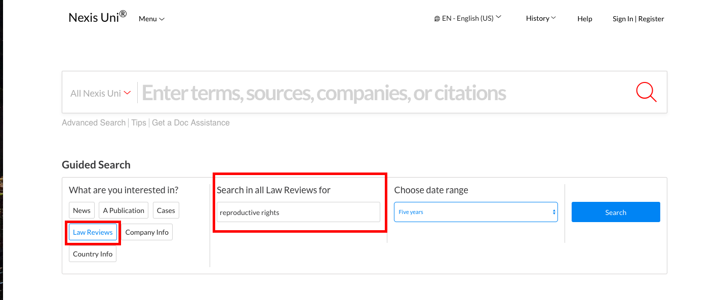 screenshot showing how to use guided search to find law reviews