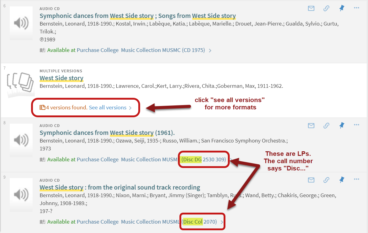screenshot showing different results in discovery search and showing the call number that starts with Disc for LPs
