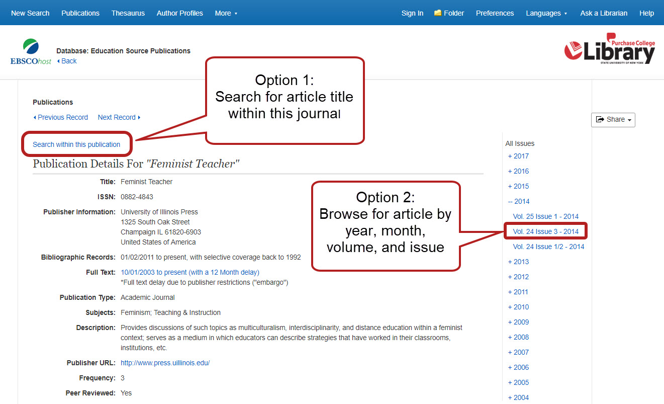 journal page in Ebsco Education Source database. Option 1: click search within this publication and look up article title. Option 2: browse for your article by year, month, volume, and issue in the dates menu on the right