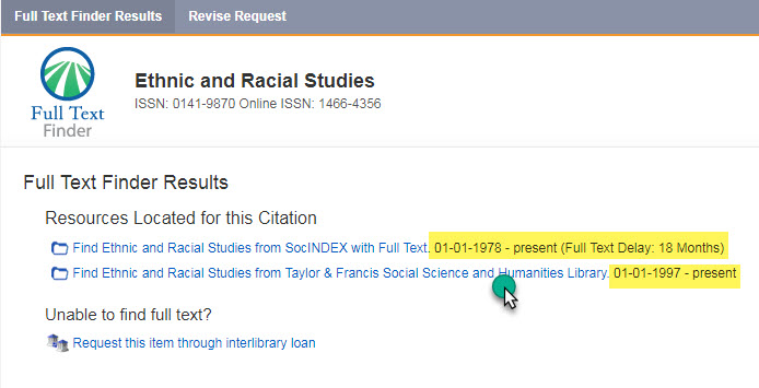 screenshot of Citation Lookup results showing two database options for the journal of Ethnic and Racial Studies. One option has a full test delay of 18 months. The other has full text up to the present.