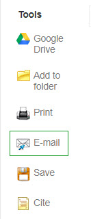 Ebsco Tools include: Google Drive, Add to Folder, Print, Email (circled), Save, Cite