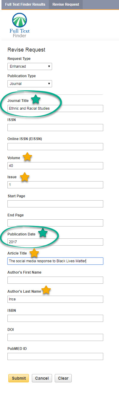 Screenshot of the Citation Lookup form showing which fields are crucial and recommended. These include: Journal Title, Volume, Issue, Publication Date, Article Title, Author's Last Name