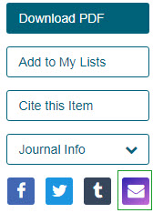 JSTOR email options: Download PDF, Add to Lists, Cite this Item, Journal Info, social media icons below followed by purple envelop icon for emailing
