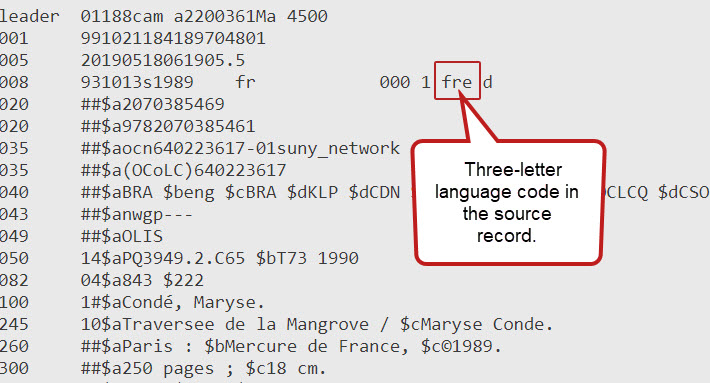 screenshot of source code with a language code for french of FRE
