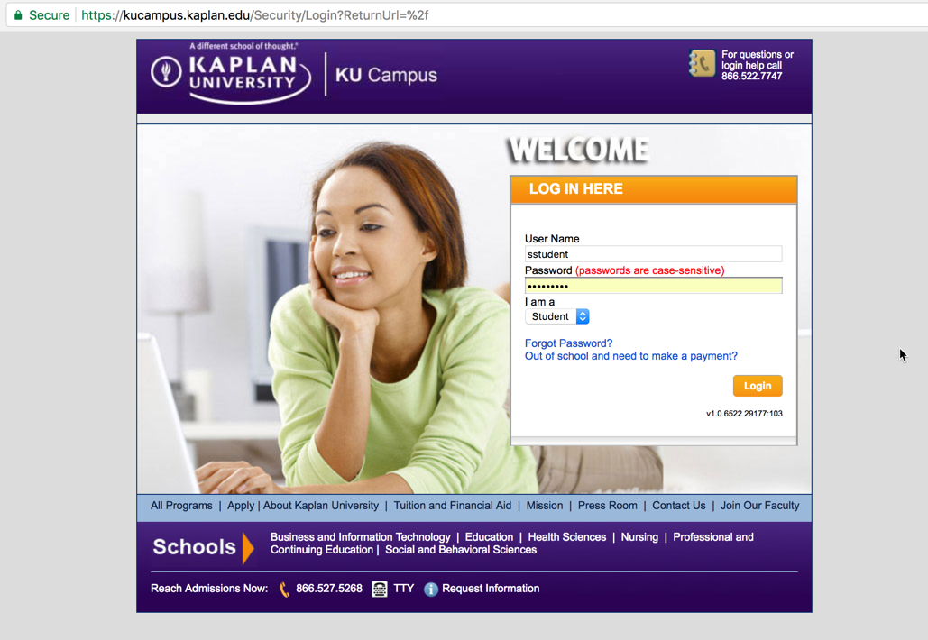 Screenshot of online campus student portal
