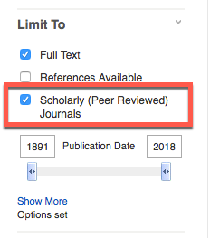 Image of Scholarly Peer Reviewed option on EBSCO results page