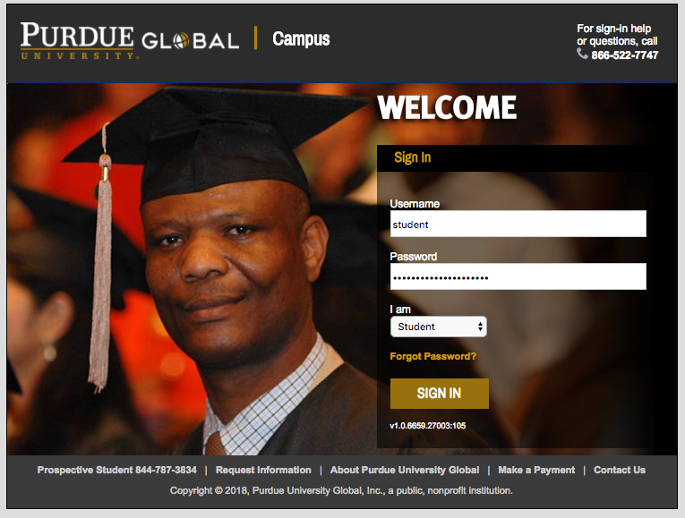 Screen capture of PG Campus student login page.