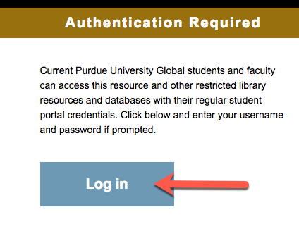 Screen capture of library authentication server page login button.