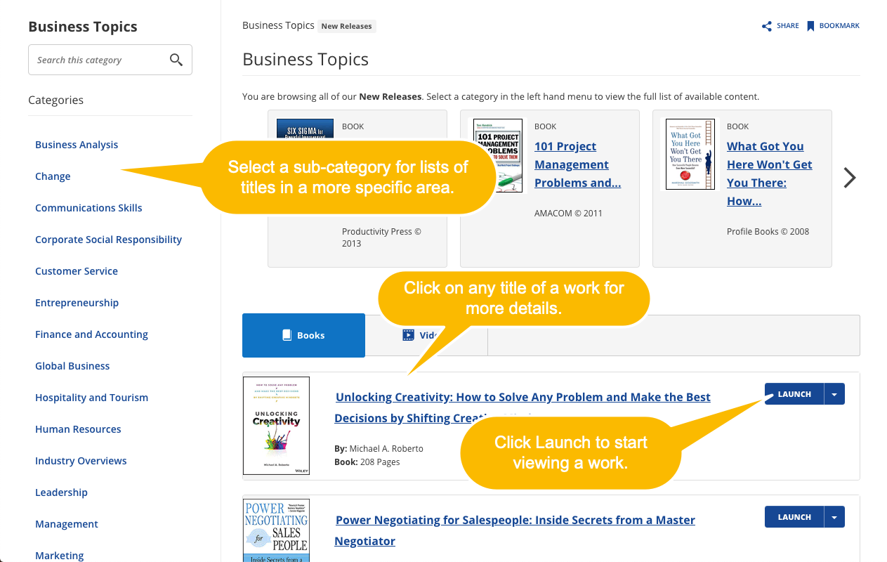 Screenshot depicting a topic page in Skillsoft Books.